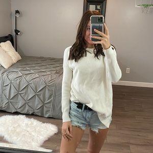 Athleta White Asymmetrical Knit Sweater